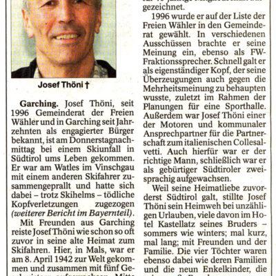 Josef Thöni starb in seinem geliebten Vinschgau